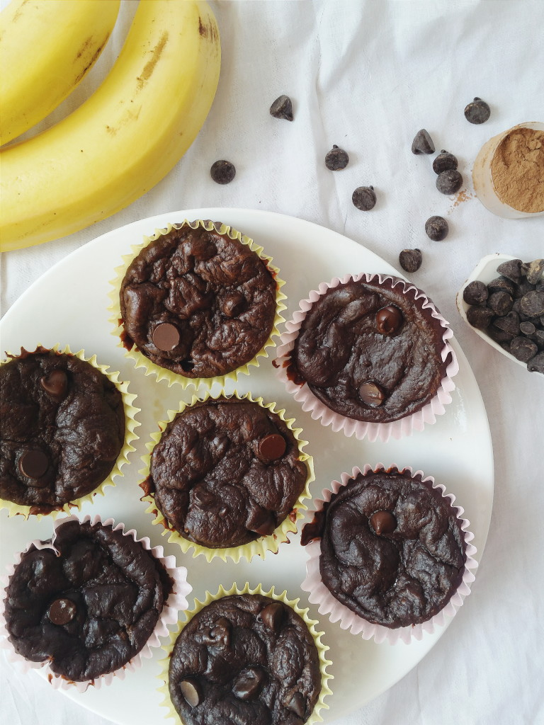 Healthy chocholate-chip muffin platter