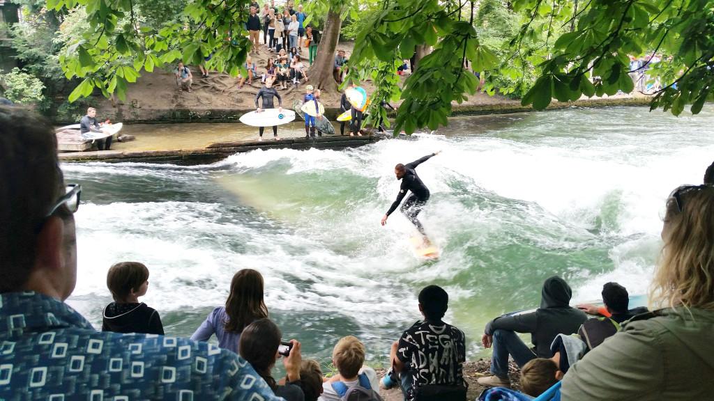 Munich English Garden surfers
