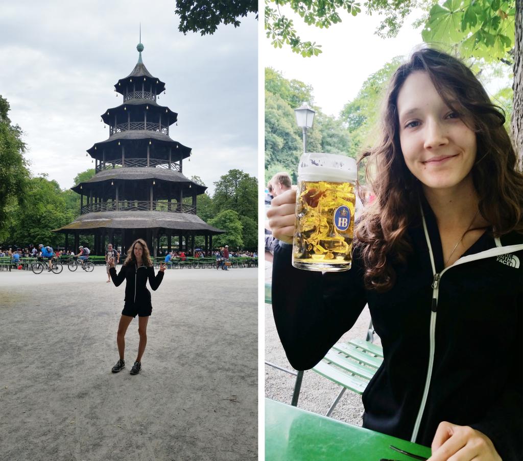 Munich English garden beer garden
