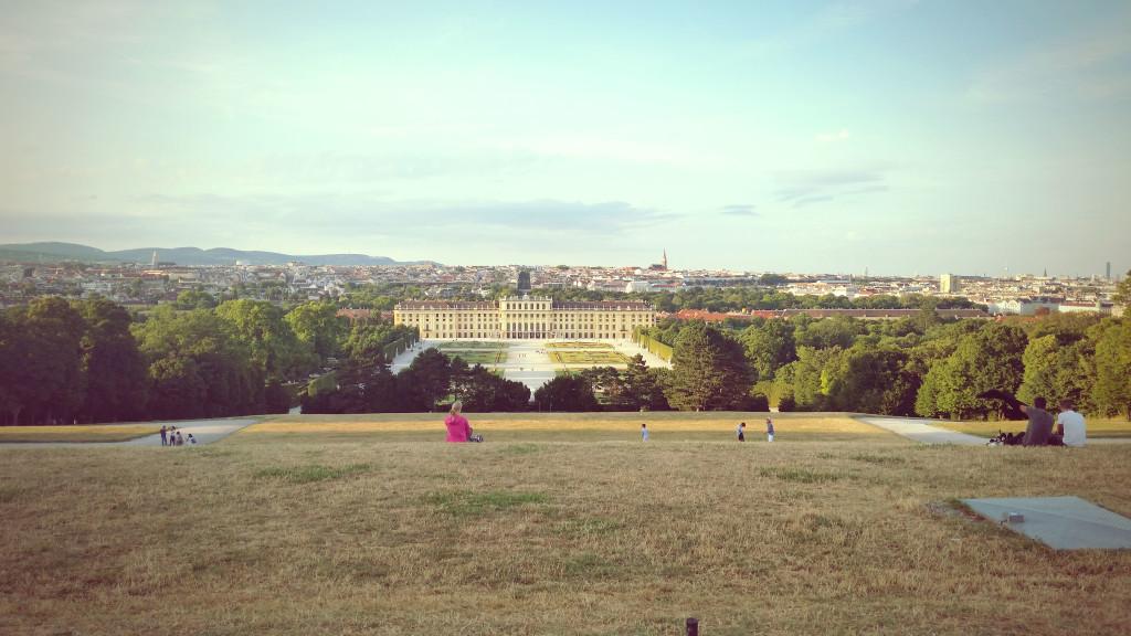 Vienna view from Schönbrunn Palace hill