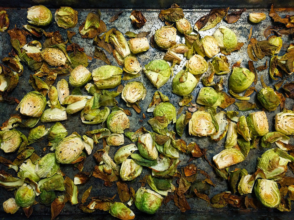 oil free crispy brussels sprouts