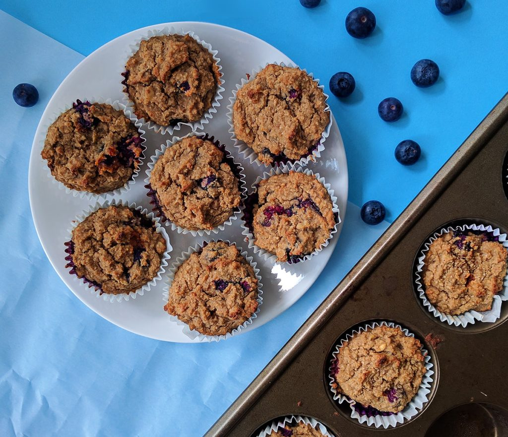 sugar free vegan lemon blueberry muffins