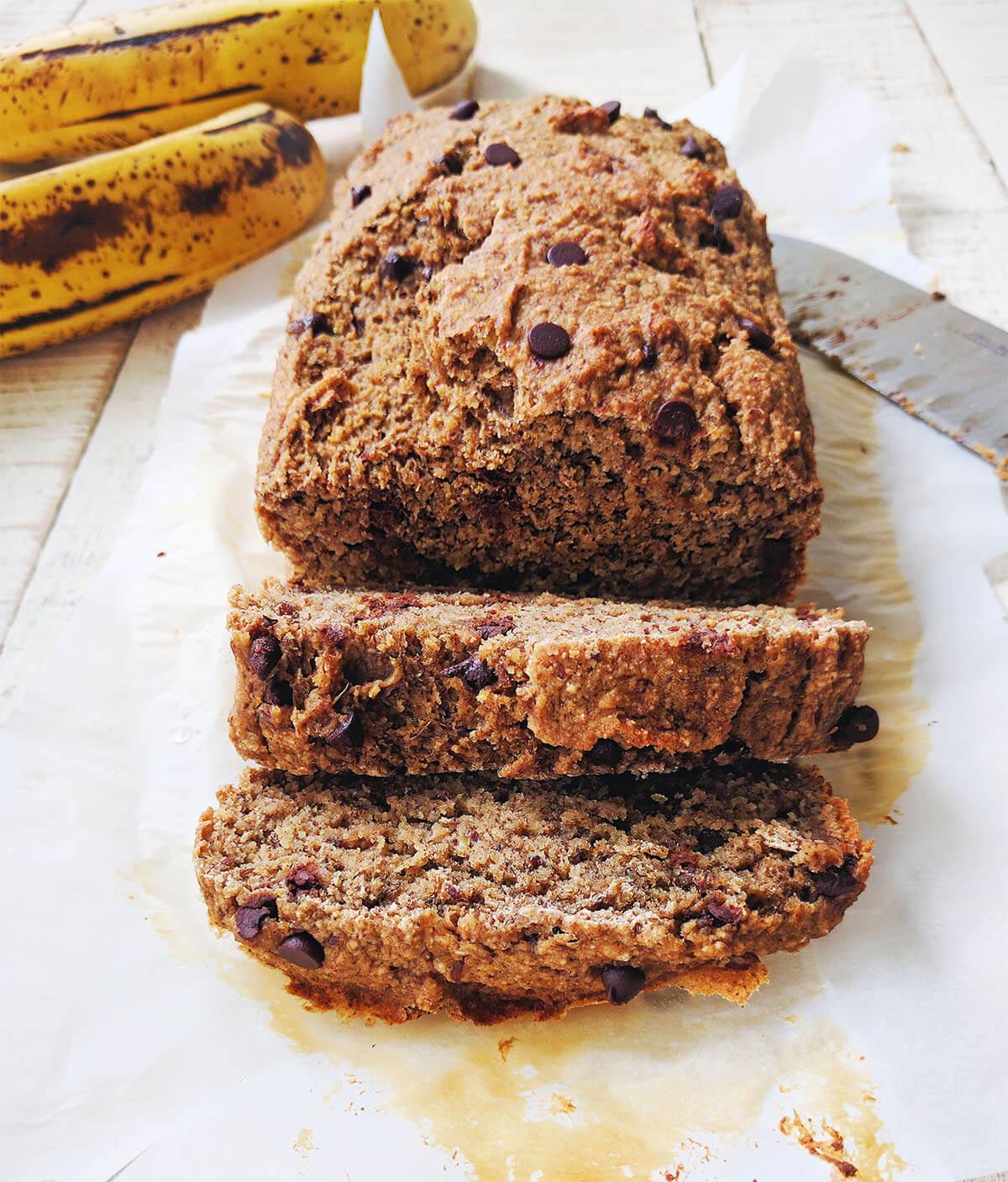 sugar free oil free choclate chip banana bread