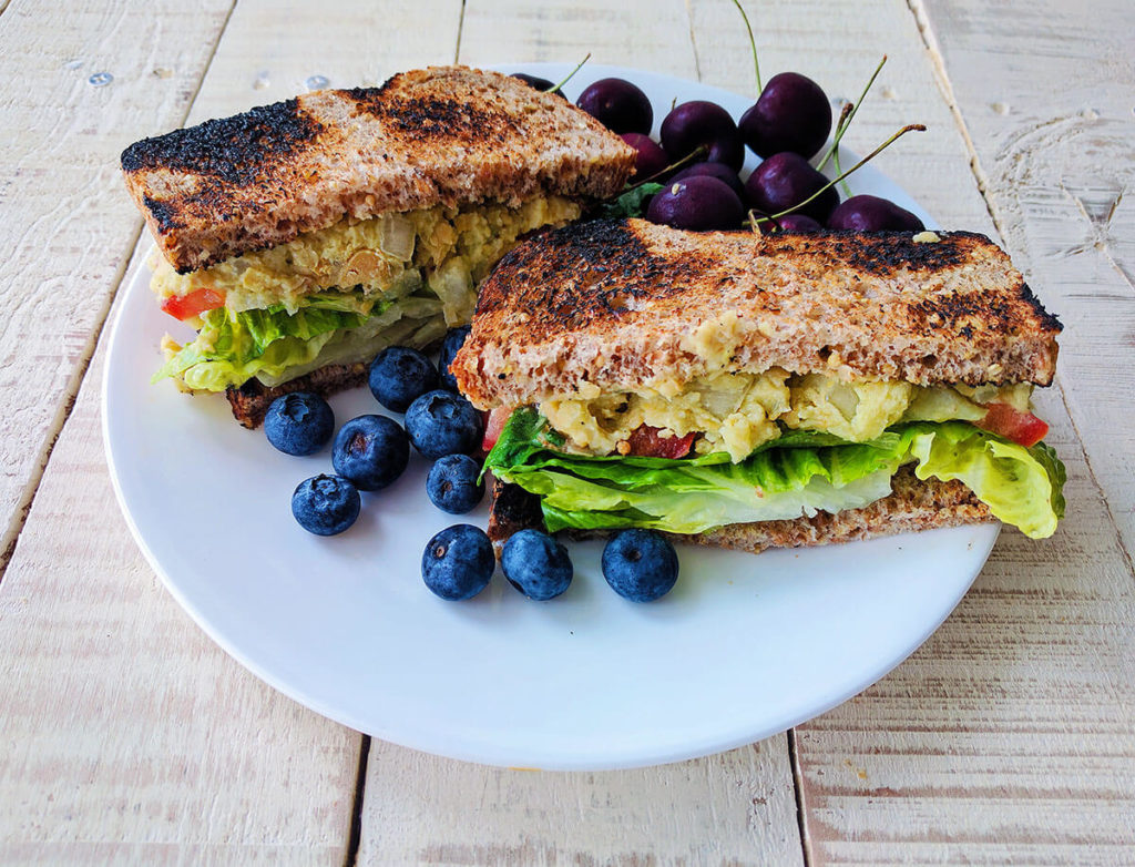 low fat chickpea salad sandwich