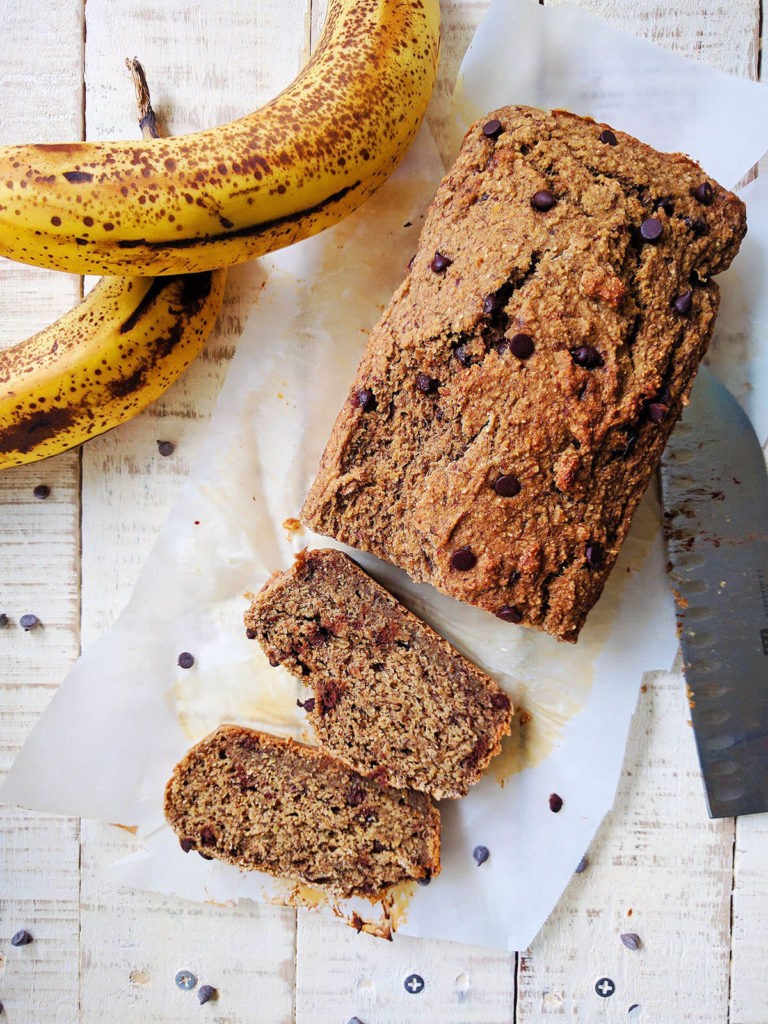 Sugar Free Oil Free Chocolate Chip Banana Bread whole foods plant based | spartanlifeblog.com