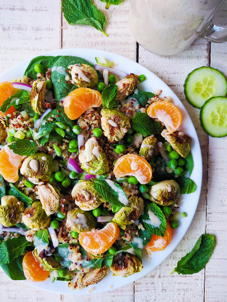 Spinach Quinoa Salad With Creamy Tahini Dressing