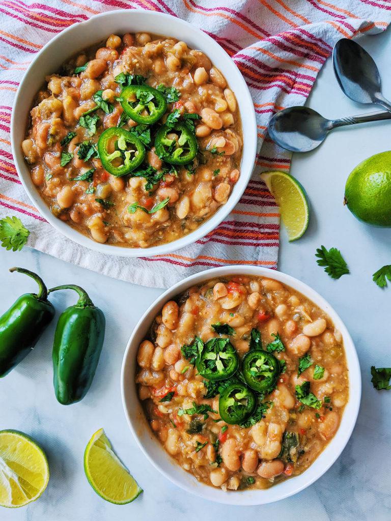 White & pinto bean tomatillo soup vegan   spartanlifeblog.com