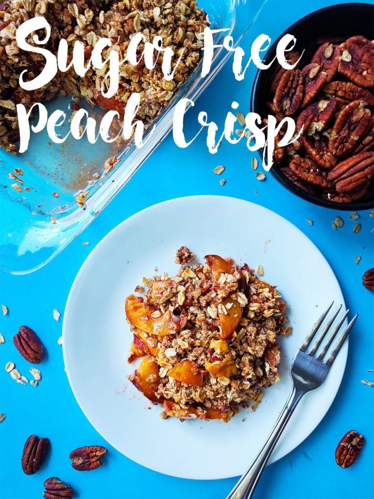 sugar free peach crisp vegan dessert