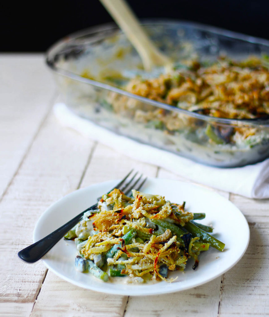 healthy vegan green bean casserole | spartanlifeblog.com