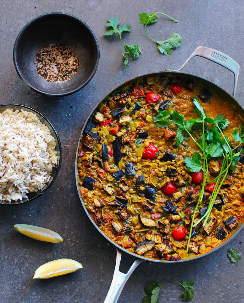 spicy lentil curry roasted eggplant