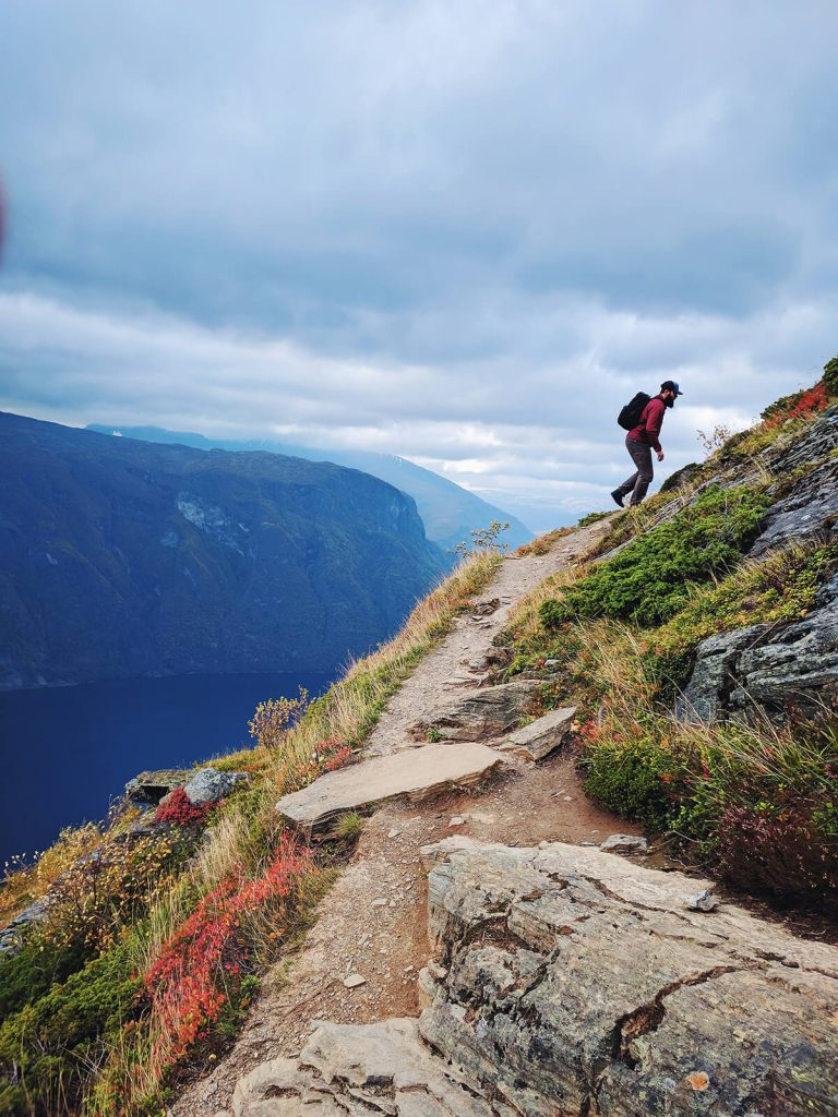 Norway hiking in Norway Aurland fjord