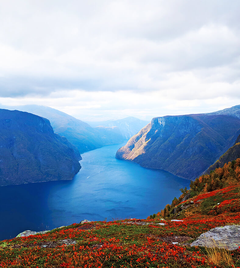 Aurland fjord hiking in norway
