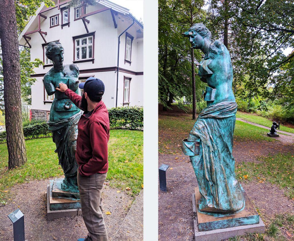 ekebergparken sculpture park oslo face drawer