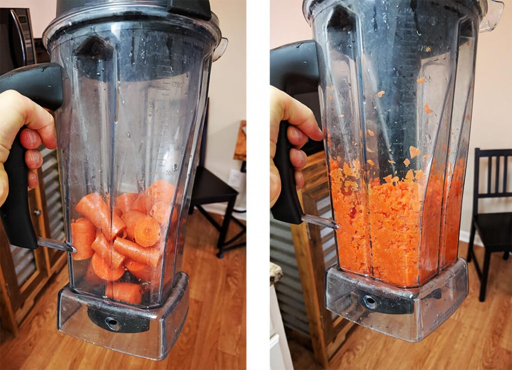 savory lentils chop carrots in blender