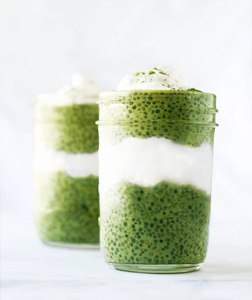 sugar free matcha chia seed pudding