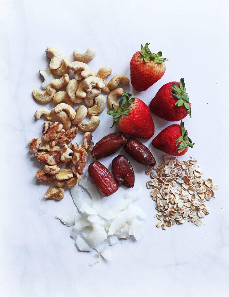6 ingredient strawberry energy bites snacks