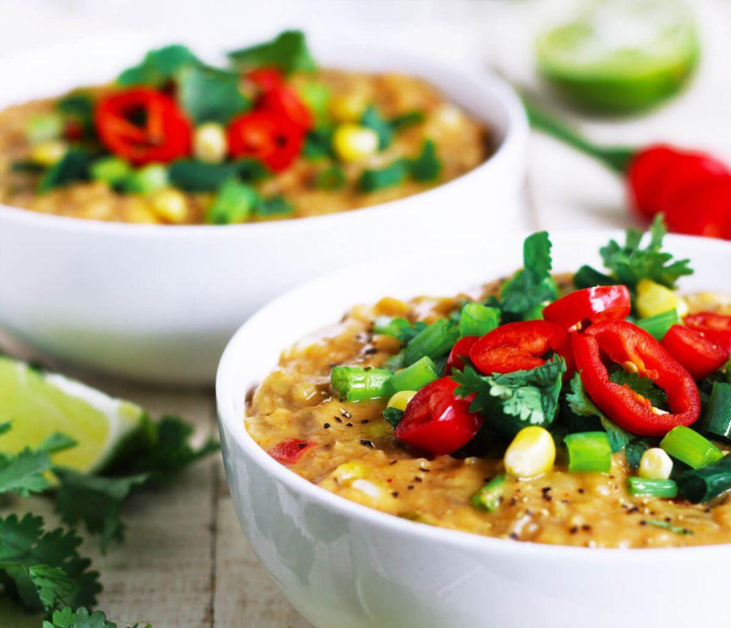 healthy soup creamy corn chowder recipe | spartanlifeblog.com