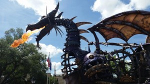 Disney World parade dragon fire